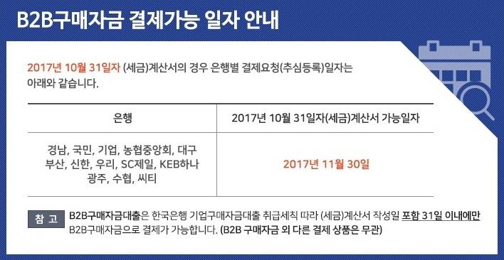 11월 B2B구매자금 결제가능 일자 안내