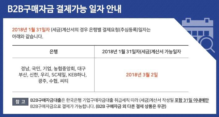1월 B2B구매자금 결제가능 일자 안내