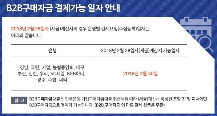 2월 B2B구매자금 결제가능 일자 안내