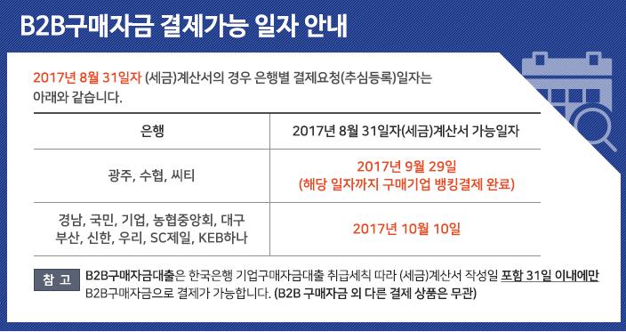 9월 B2B구매자금 결제가능 일자 안내